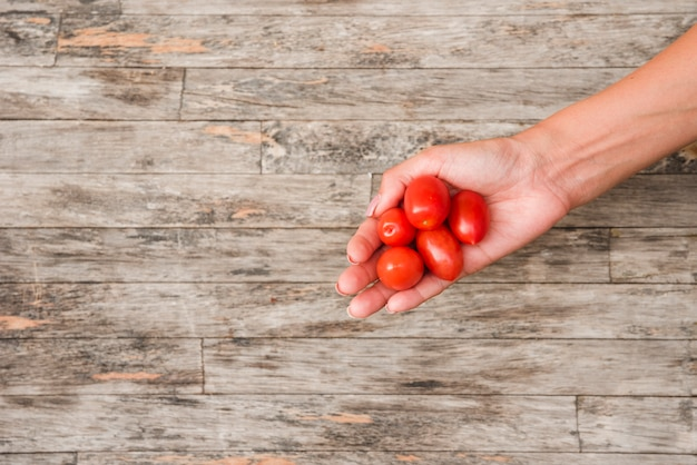 Primo piano della mano della donna che tiene i pomodori ciliegia rossi sul bordo di legno
