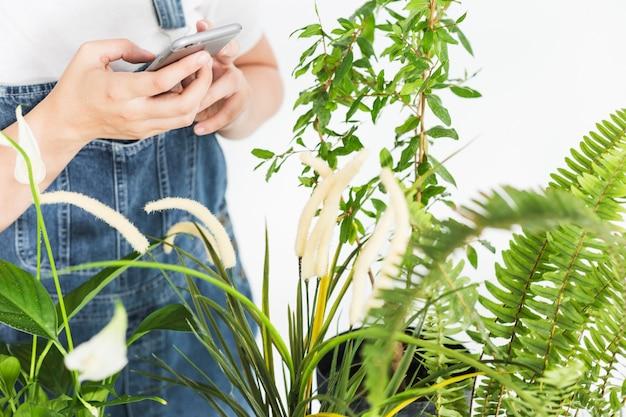 Primo piano della mano di una donna che tiene smartphone vicino alle piante