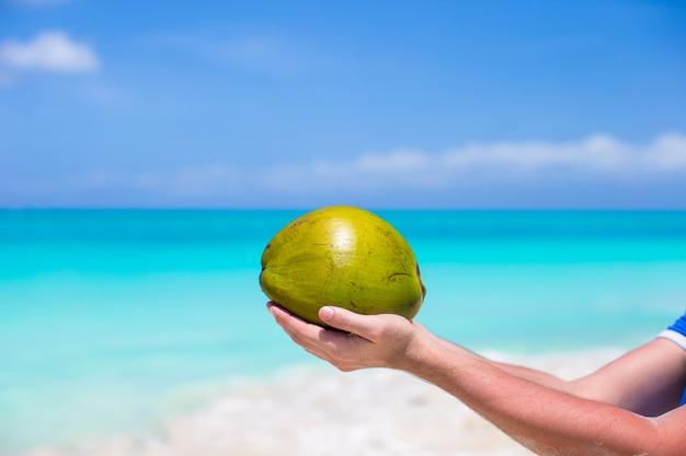 Primo piano della noce di cocco in mani contro il mare del turchese