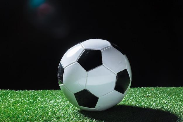 Primo piano della palla sull'erba verde.