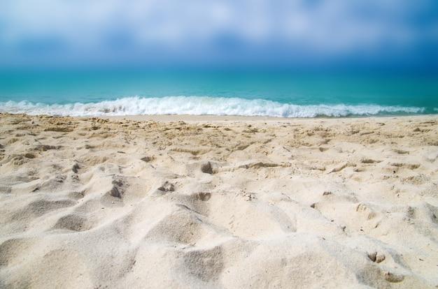 Primo piano della sabbia della spiaggia con le viste del mare