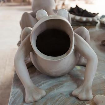 Primo piano della scultura della rana, san agustin, dolores hidalgo, guanajuato, messico