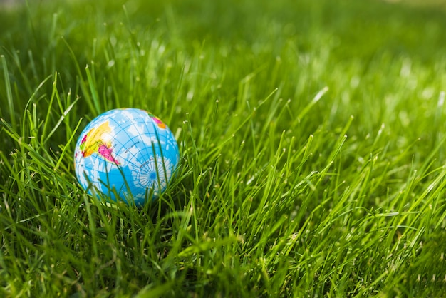 Primo piano della sfera del globo su erba verde