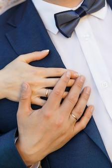 Primo piano delle mani con anelli