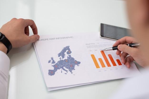 Primo piano delle mani maschii che funzionano con il rapporto di statistica di vendita dell'europa