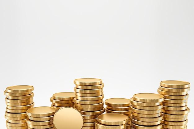 Primo piano delle monete dorate della pila sulla parete bianca con il concetto di profitto dei guadagni. monete d'oro o valuta commerciale. rendering 3d.