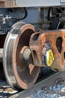 Primo piano delle ruote del treno merci