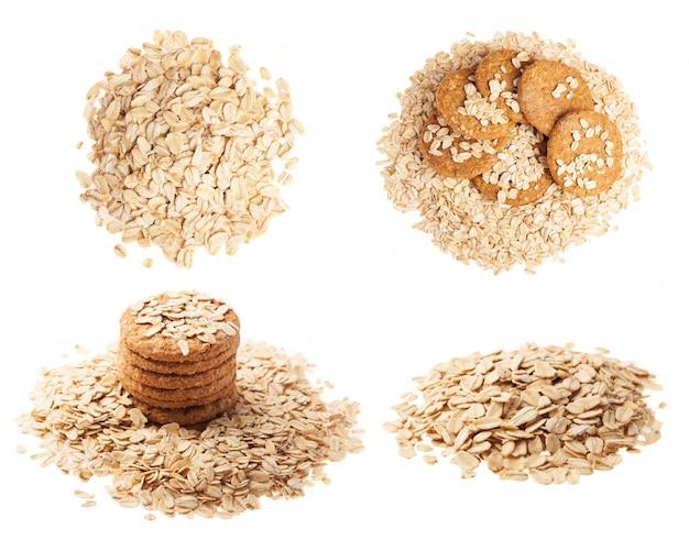 Primo piano di cereali e biscotti