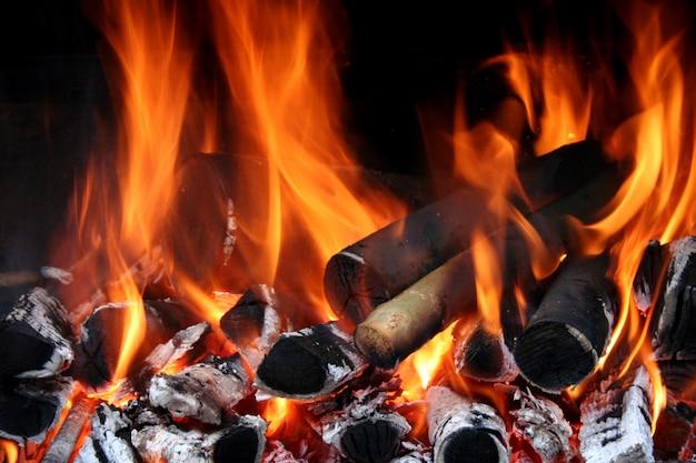 Primo piano di fiamme del fuoco