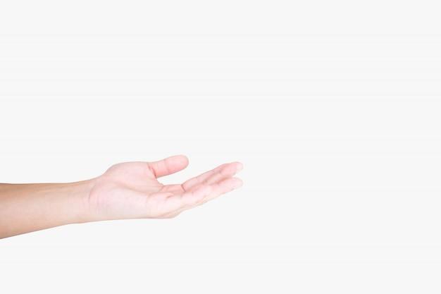 Primo piano di giovani mani isolate