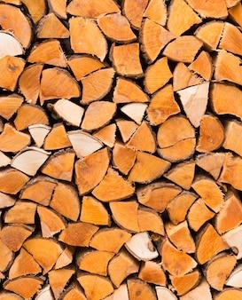 Primo piano di legna da ardere tagliata