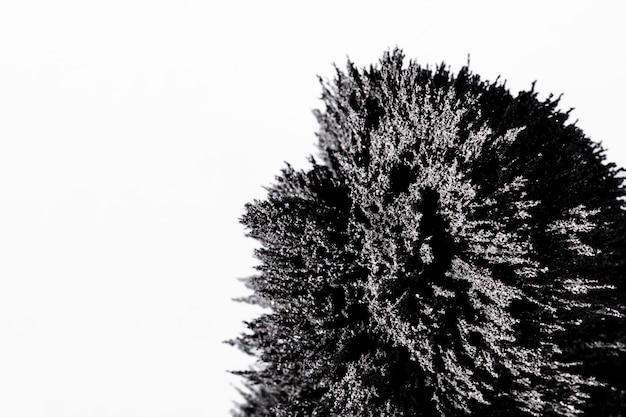 Primo piano di rasatura metallica magnetica isolato su sfondo bianco