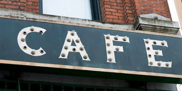 Primo piano di un segno del caffè, seattle, washington state, usa