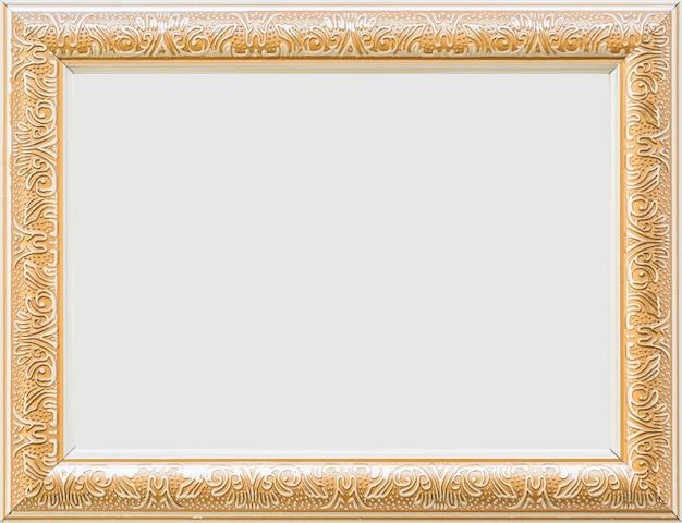 Primo piano di una cornice bianca vuota d'oro