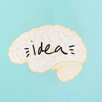 Primo piano di una parola idea all'interno del cervello su sfondo turchese