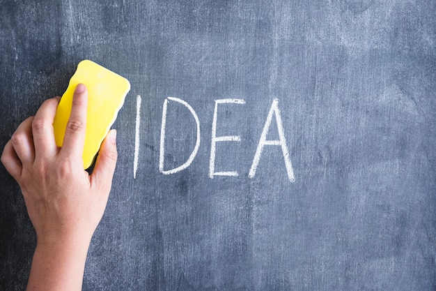 Primo piano di una persona che pulisce l'idea di parola scritta sulla lavagna con lo spolveratore giallo