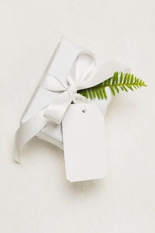 Primo piano di una scatola attuale; tag vuoto e foglia verde isolato su sfondo bianco