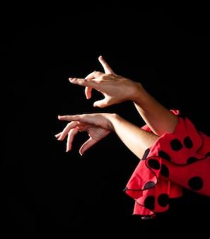 Primo piano flamenca eseguendo floreo