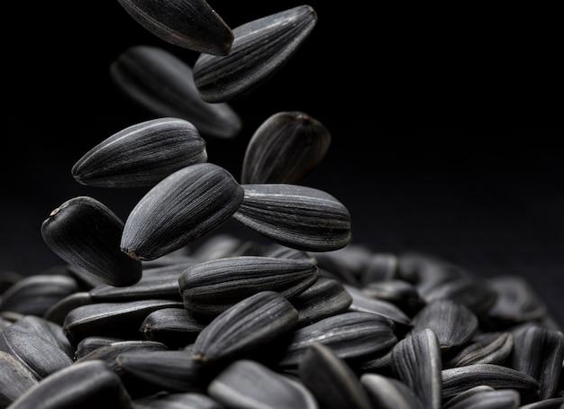 Primo piano nero dei semi di girasole con lo spazio della copia