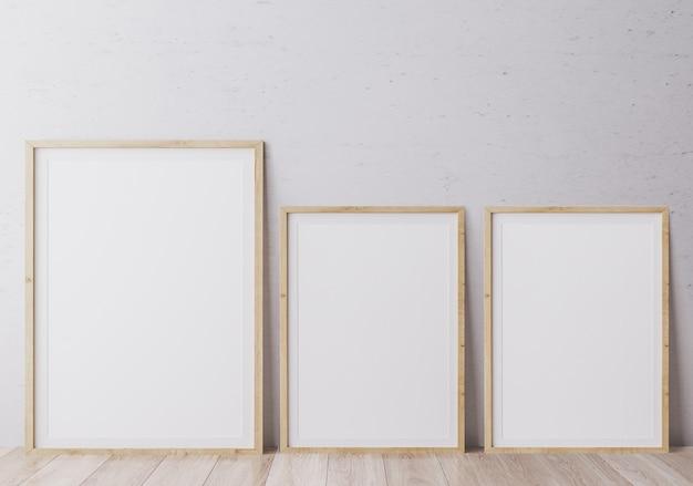 Primo piano su cornici per poster in stile moderno degli interni