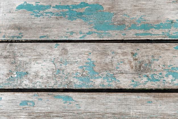 Primo piano su tavole orizzontali blu in legno d'epoca