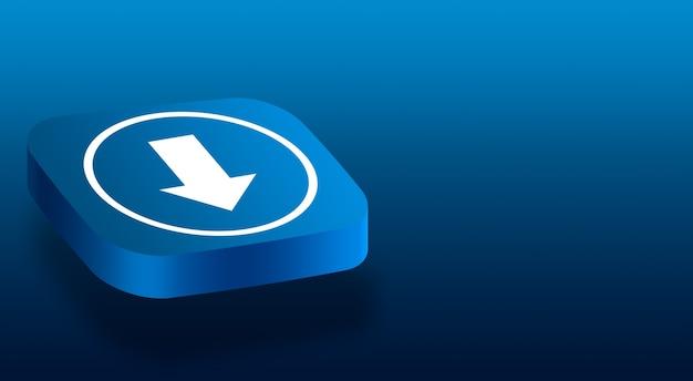 Primo piano sul pulsante 3d con un'icona a forma di freccia di download