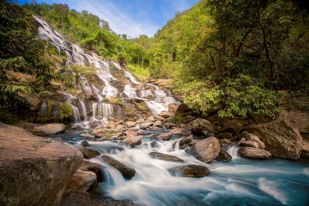 Primo piano sulla cascata di mae ya con rocce