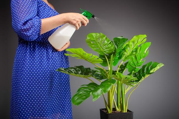 Primo piano sulla donna che innaffia il fiore e si prende cura delle foglie