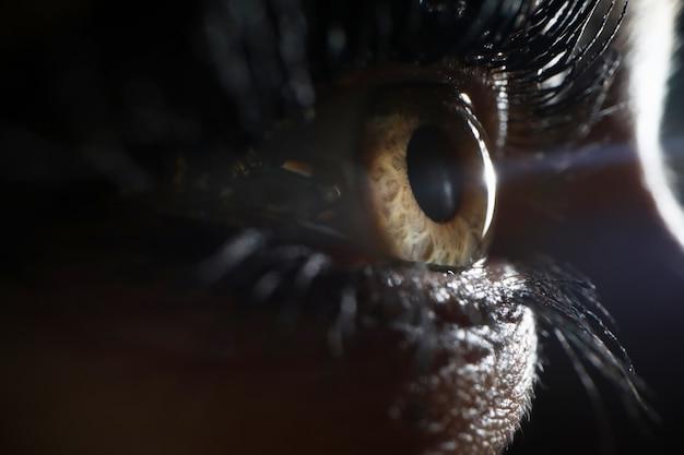 Primo piano umano del supermacro dell'occhio verde
