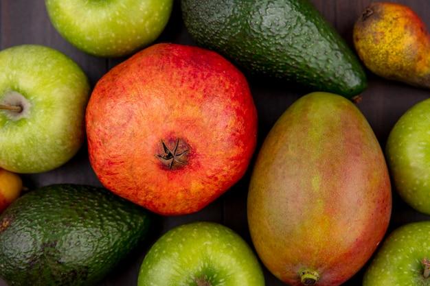 Primo piano vista di diversi frutti