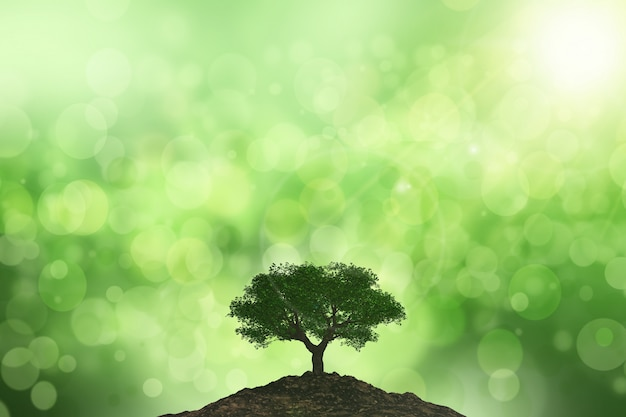 Priorità bassa 3d del sole che splende su un albero contro una priorità bassa del bokeh