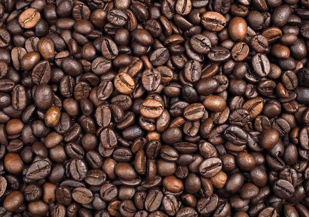 Priorità bassa arrostita di struttura dei chicchi di caffè, primo piano