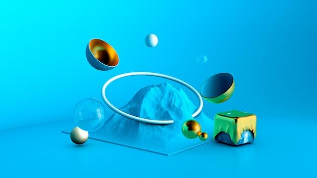 Priorità bassa astratta di minimalismo nello studio con una montagna e gli elementi. rendering 3d.