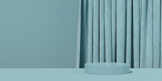 Priorità bassa blu astratta di figura della geometria. scena minimalista sul podio