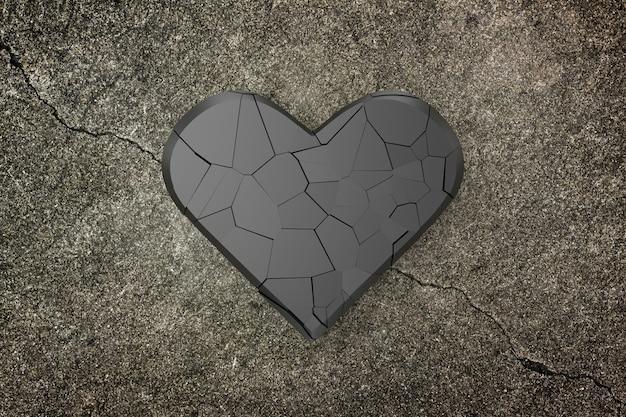 Priorità bassa del cuore rotto, rappresentazione 3d.