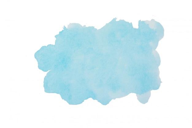 Priorità bassa dell'acquerello blu cielo. tratti la forma del colpo isolata su bianco con il percorso di ritaglio