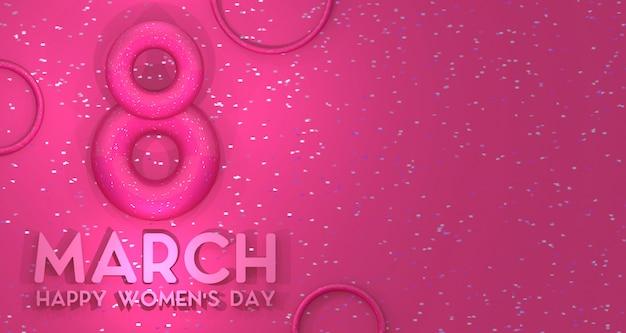 Priorità bassa della bandiera di giorno delle donne. rendering 3d.
