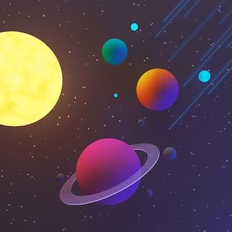 Priorità bassa della galassia o dello spazio con il pianeta e la stella, illustrazione 3d.
