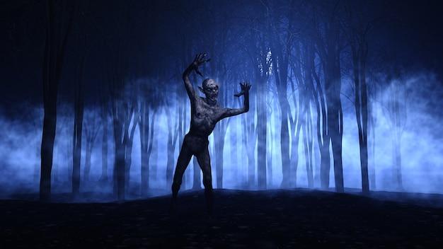 Priorità bassa di halloween 3d di uno zombie che emerge da una foresta nebbiosa