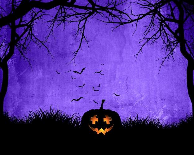 Priorità bassa di halloween con la zucca su priorità bassa viola