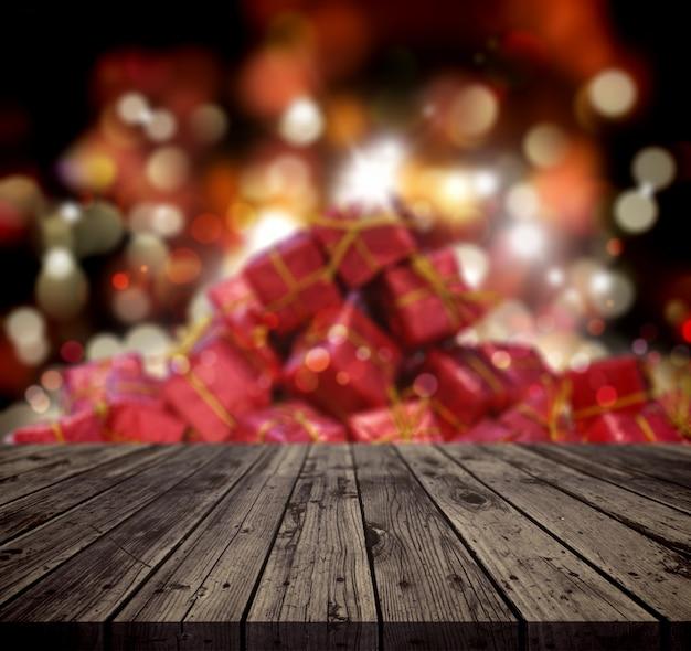 Priorità bassa di natale 3d con la tabella di legno che osserva fuori ad una pila di regali