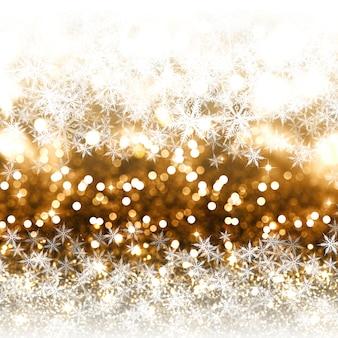 Priorità bassa di natale di scintillio dell'oro con i fiocchi di neve