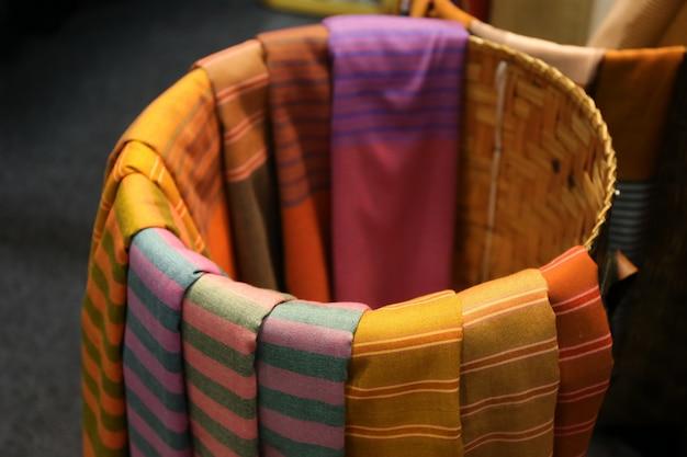 Priorità bassa di struttura del cotone, stile tailandese