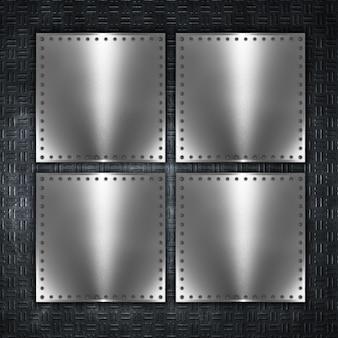 Priorità bassa di struttura della piastra metallica con i ribattini