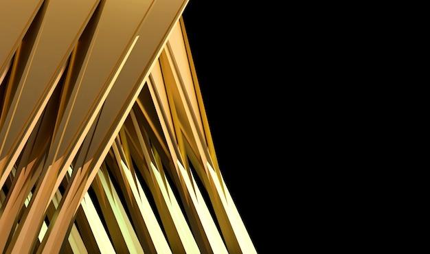 Priorità bassa dorata futuristica astratta, con la rappresentazione nera dello spazio 3d.