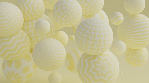 Priorità bassa gialla con l'illustrazione delle sfere 3d