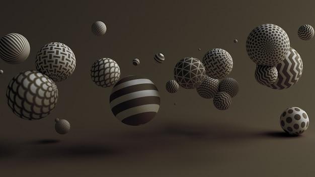 Priorità bassa nera con l'illustrazione delle sfere 3d
