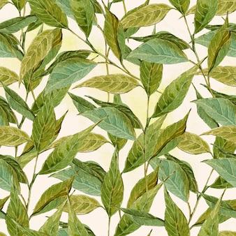 Priorità bassa senza giunte dell'acquerello con ramoscelli, foglie
