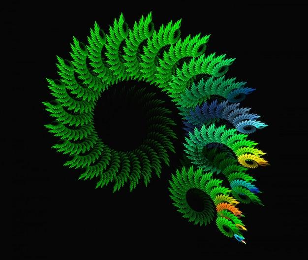 Priorità bassa verde astratta di frattalo a spirale sul nero