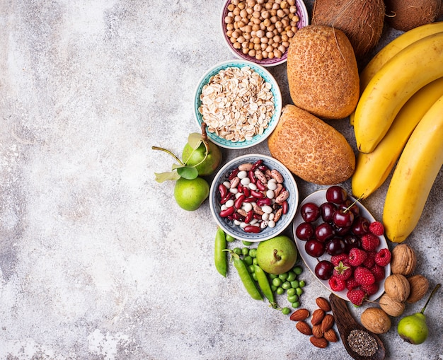 Prodotti ricchi di fibre. cibo dieta sana